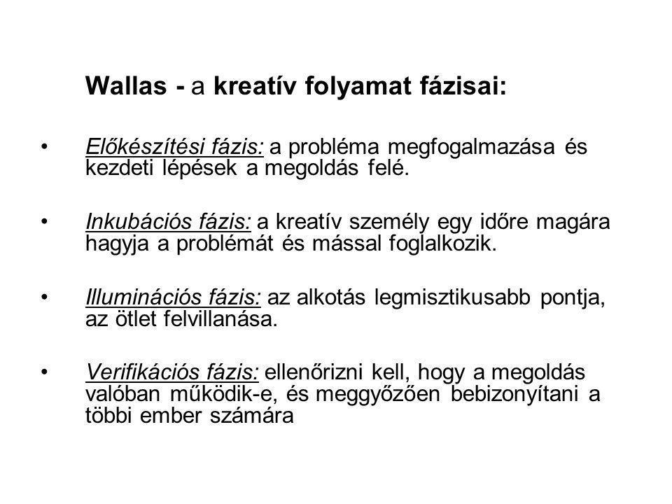 Wallas - a kreatív folyamat fázisai: Előkészítési fázis: a probléma megfogalmazása és kezdeti lépések a megoldás felé. Inkubációs fázis: a kreatív sze