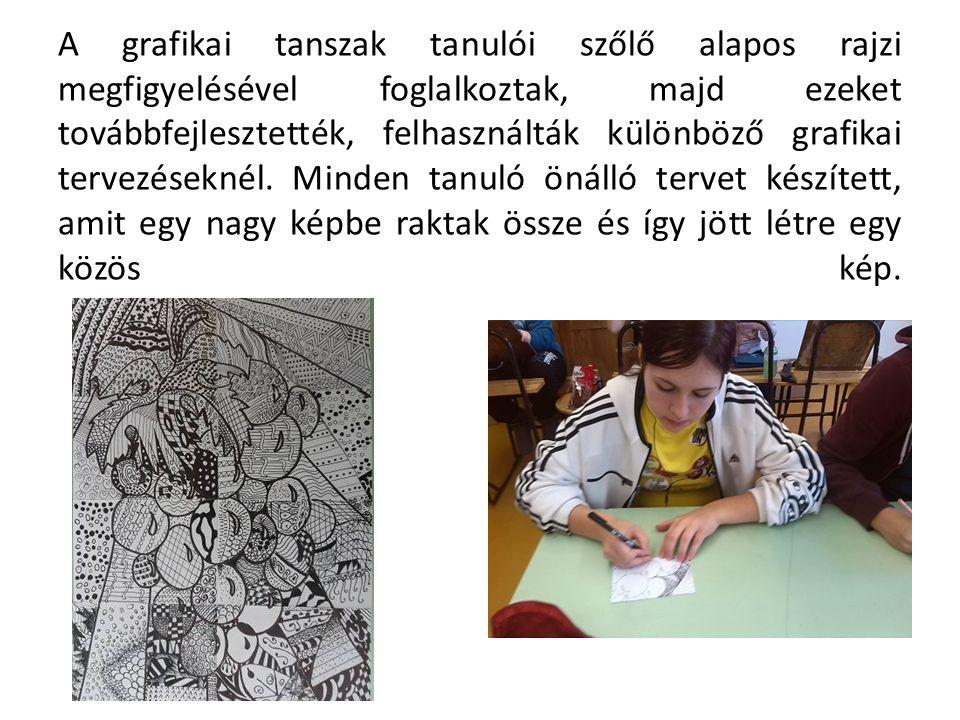 A grafikai tanszak tanulói szőlő alapos rajzi megfigyelésével foglalkoztak, majd ezeket továbbfejlesztették, felhasználták különböző grafikai tervezés