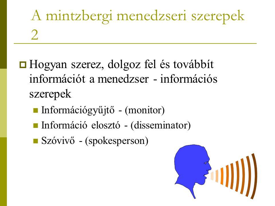 A mintzbergi menedzseri szerepek 2  Hogyan szerez, dolgoz fel és továbbít információt a menedzser - információs szerepek Információgyűjtő - (monitor)
