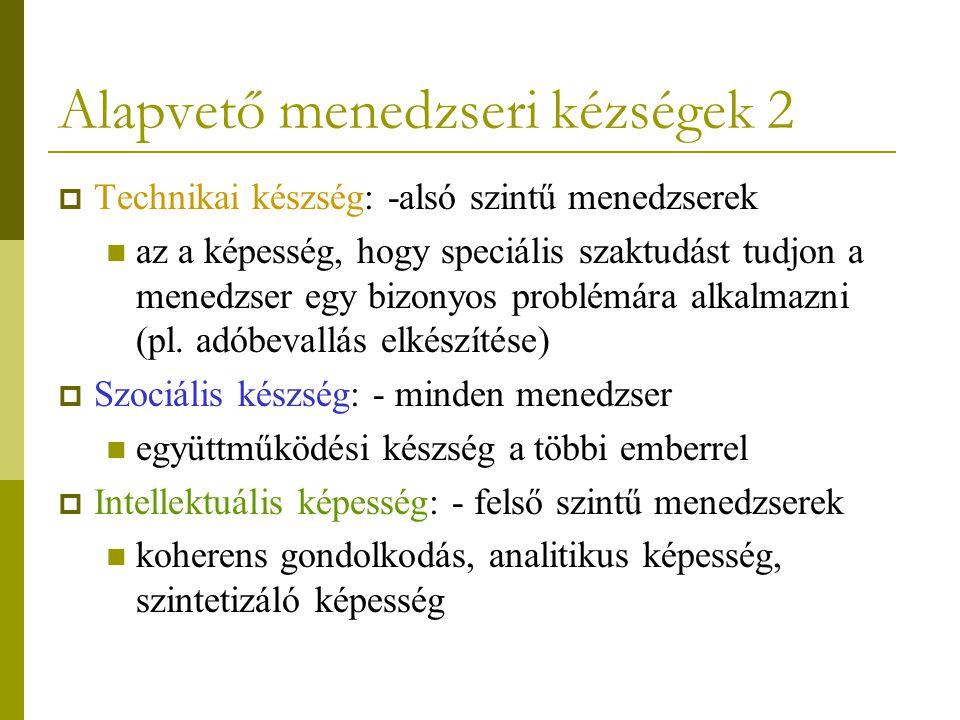Alapvető menedzseri kézségek 2  Technikai készség: -alsó szintű menedzserek az a képesség, hogy speciális szaktudást tudjon a menedzser egy bizonyos