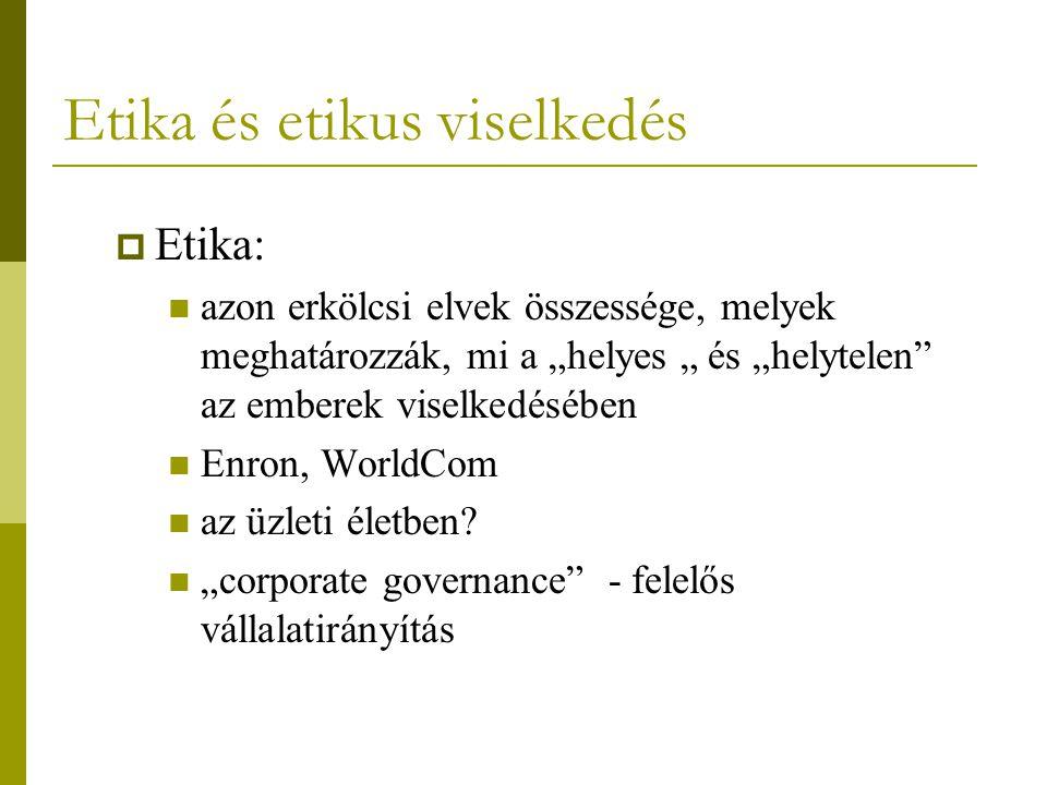 """Etika és etikus viselkedés  Etika: azon erkölcsi elvek összessége, melyek meghatározzák, mi a """"helyes """" és """"helytelen"""" az emberek viselkedésében Enro"""