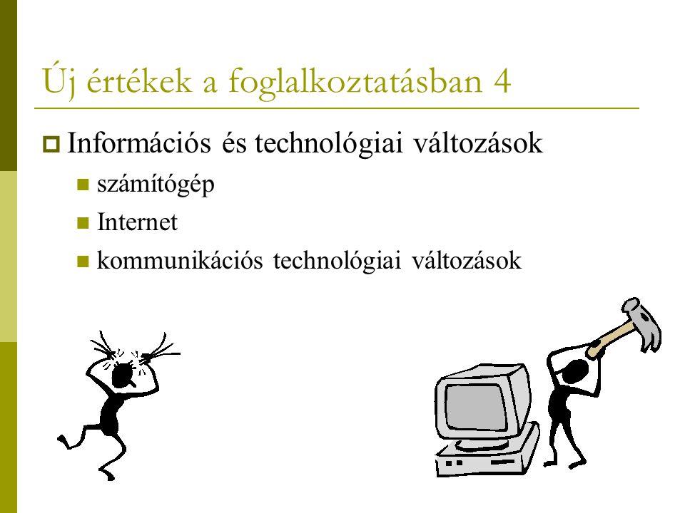 Új értékek a foglalkoztatásban 4  Információs és technológiai változások számítógép Internet kommunikációs technológiai változások