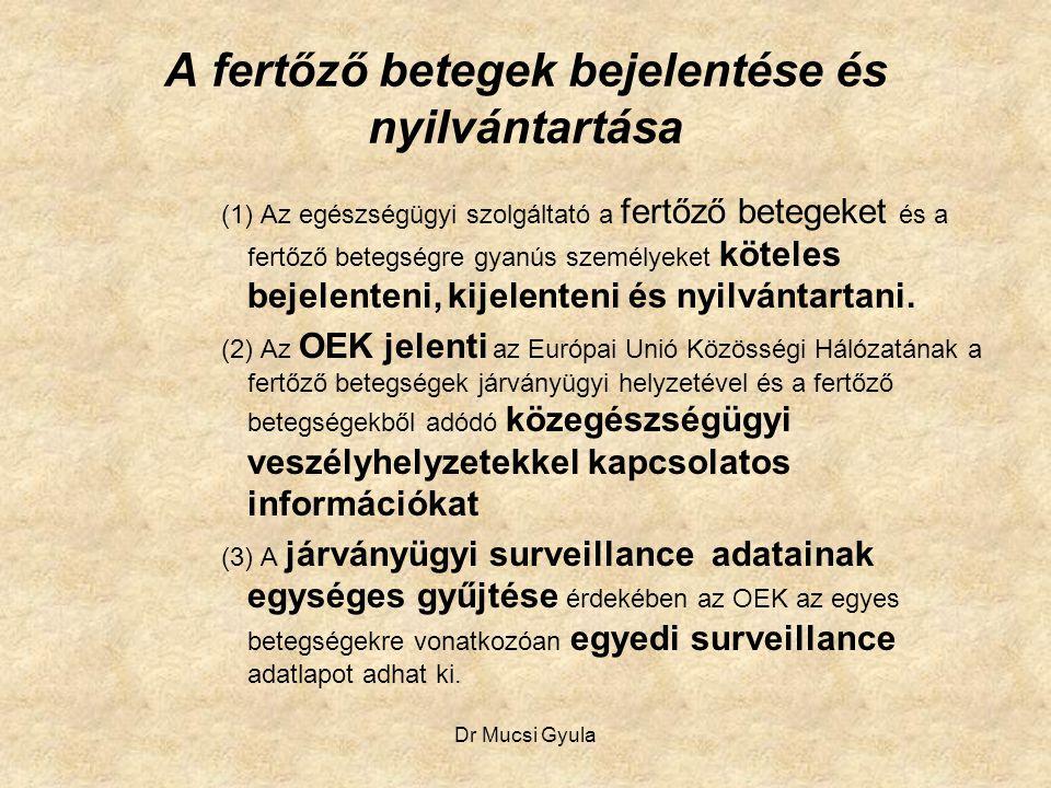 Dr Mucsi Gyula A fertőző betegek bejelentése és nyilvántartása (1) Az egészségügyi szolgáltató a fertőző betegeket és a fertőző betegségre gyanús szem