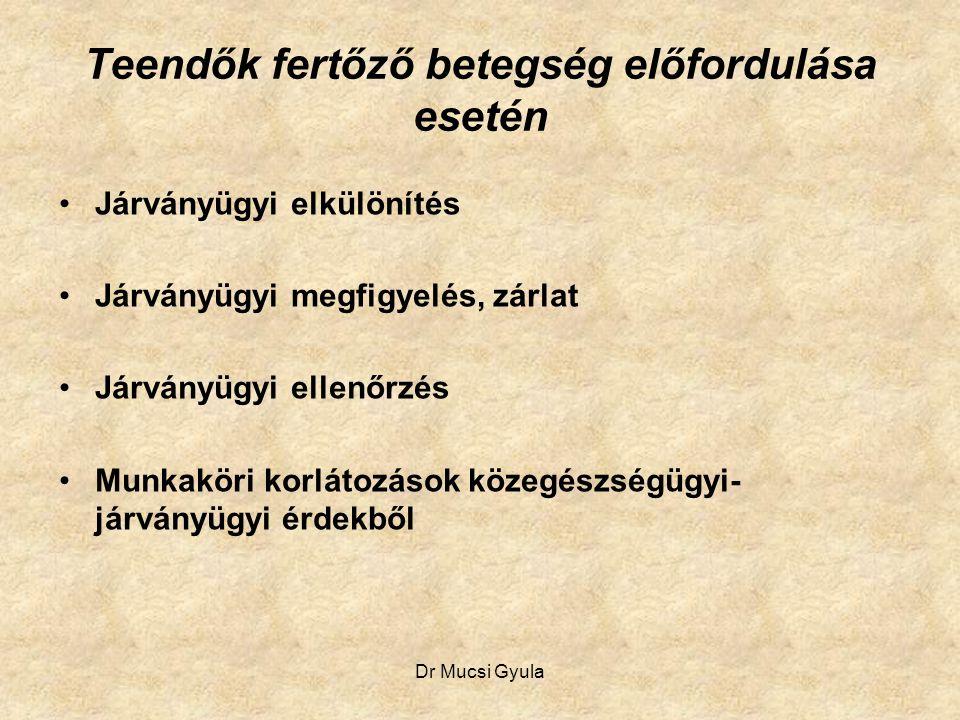 Dr Mucsi Gyula Teendők fertőző betegség előfordulása esetén Járványügyi elkülönítés Járványügyi megfigyelés, zárlat Járványügyi ellenőrzés Munkaköri k