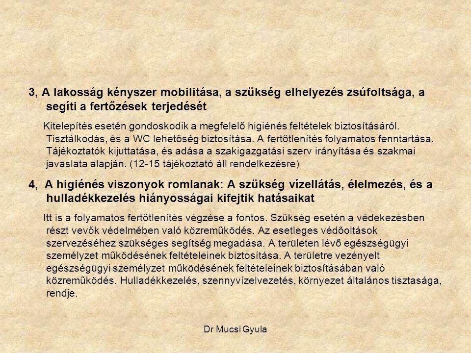 Dr Mucsi Gyula 3, A lakosság kényszer mobilitása, a szükség elhelyezés zsúfoltsága, a segíti a fertőzések terjedését Kitelepítés esetén gondoskodik a