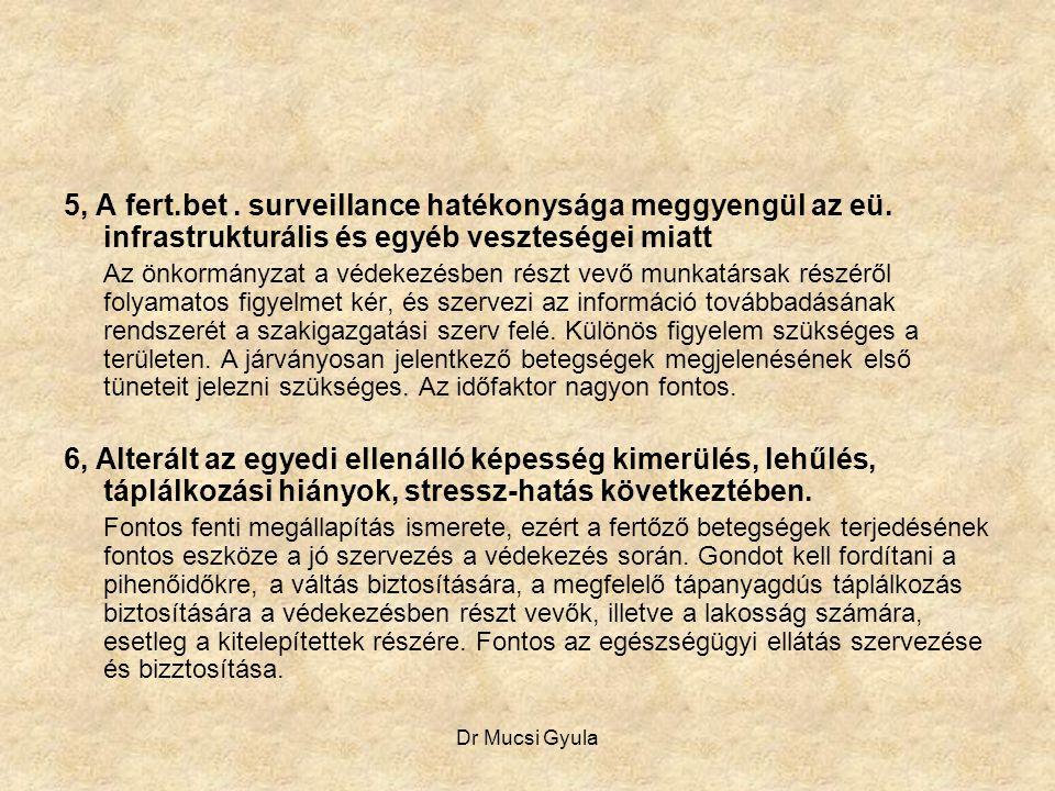 Dr Mucsi Gyula 5, A fert.bet. surveillance hatékonysága meggyengül az eü. infrastrukturális és egyéb veszteségei miatt Az önkormányzat a védekezésben