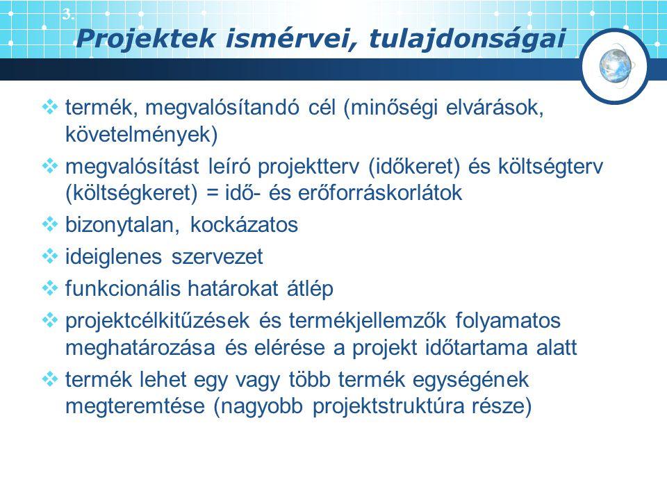 Projektek ismérvei, tulajdonságai  termék, megvalósítandó cél (minőségi elvárások, követelmények)  megvalósítást leíró projektterv (időkeret) és köl