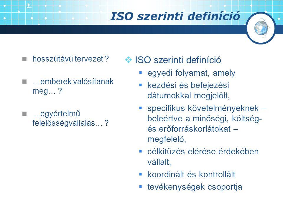 ISO szerinti definíció  ISO szerinti definíció  egyedi folyamat, amely  kezdési és befejezési dátumokkal megjelölt,  specifikus követelményeknek –