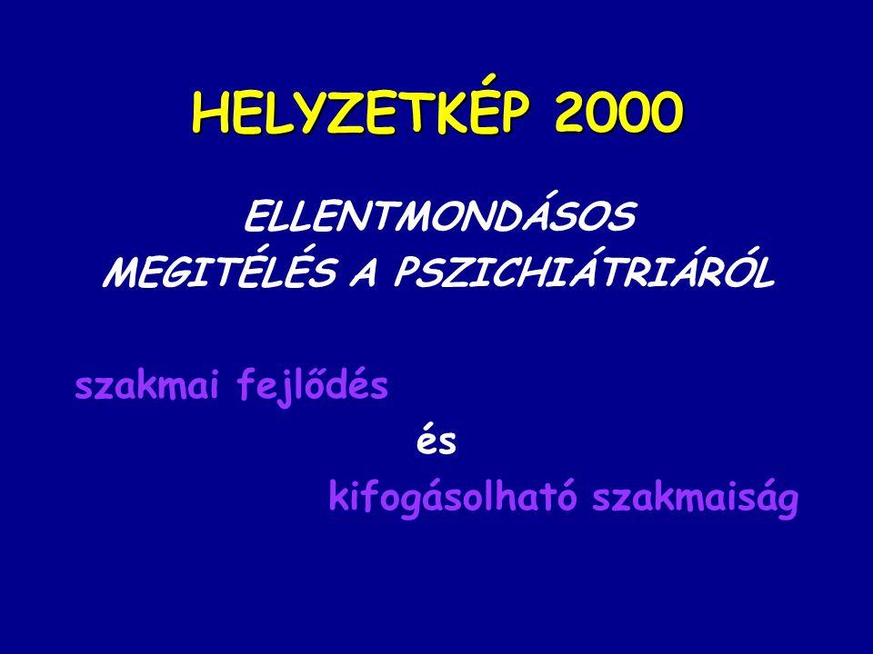 HELYZETKÉP 2000 ELLENTMONDÁSOS MEGITÉLÉS A PSZICHIÁTRIÁRÓL szakmai fejlődés és kifogásolható szakmaiság