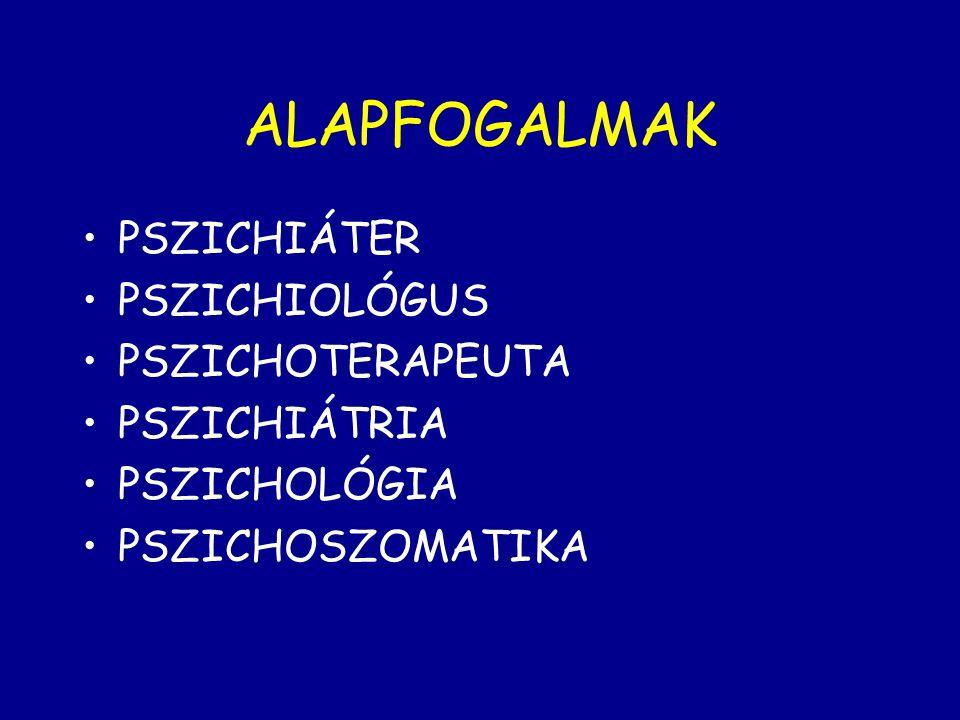 ALAPFOGALMAK PSZICHIÁTER PSZICHIOLÓGUS PSZICHOTERAPEUTA PSZICHIÁTRIA PSZICHOLÓGIA PSZICHOSZOMATIKA