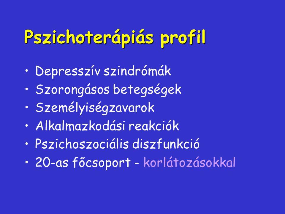 Pszichoterápiás profil Depresszív szindrómák Szorongásos betegségek Személyiségzavarok Alkalmazkodási reakciók Pszichoszociális diszfunkció 20-as főcs