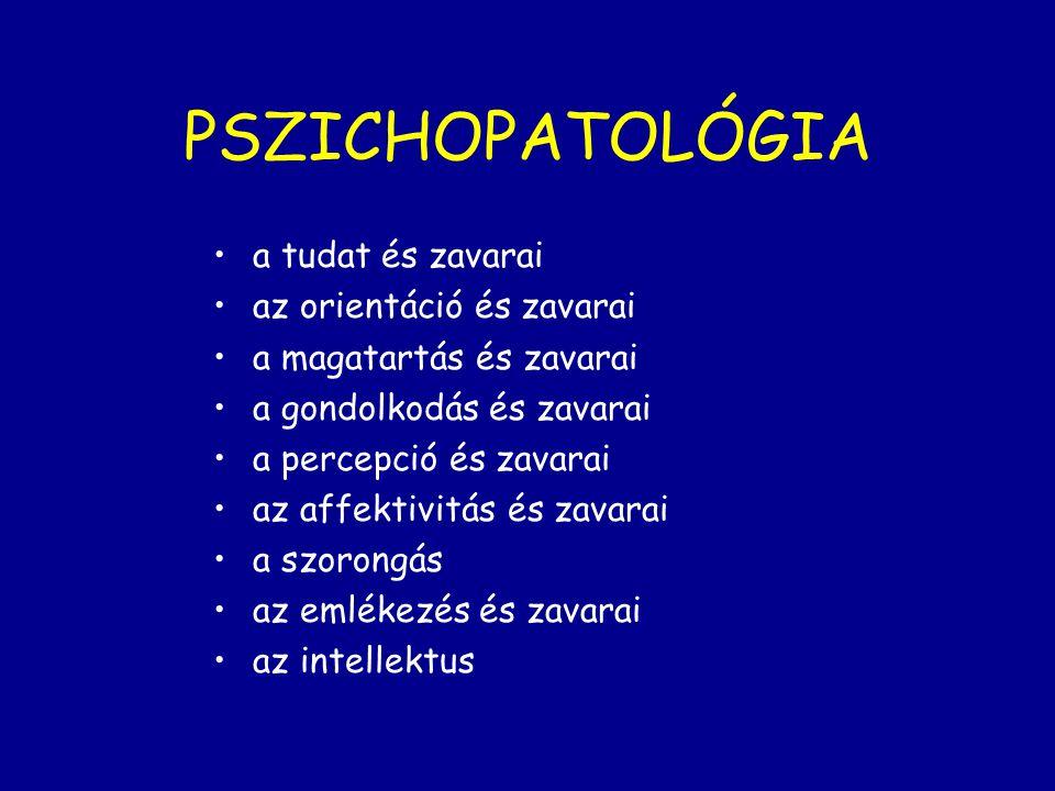 PSZICHOPATOLÓGIA a tudat és zavarai az orientáció és zavarai a magatartás és zavarai a gondolkodás és zavarai a percepció és zavarai az affektivitás é