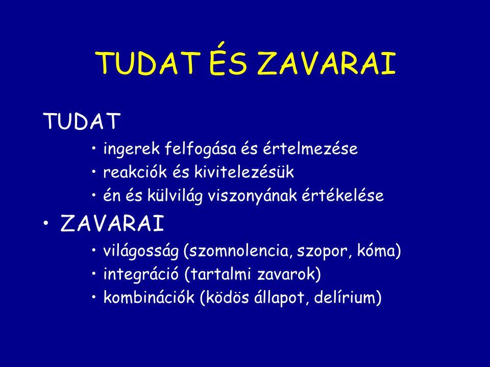 TUDAT ÉS ZAVARAI TUDAT ingerek felfogása és értelmezése reakciók és kivitelezésük én és külvilág viszonyának értékelése ZAVARAI világosság (szomnolenc