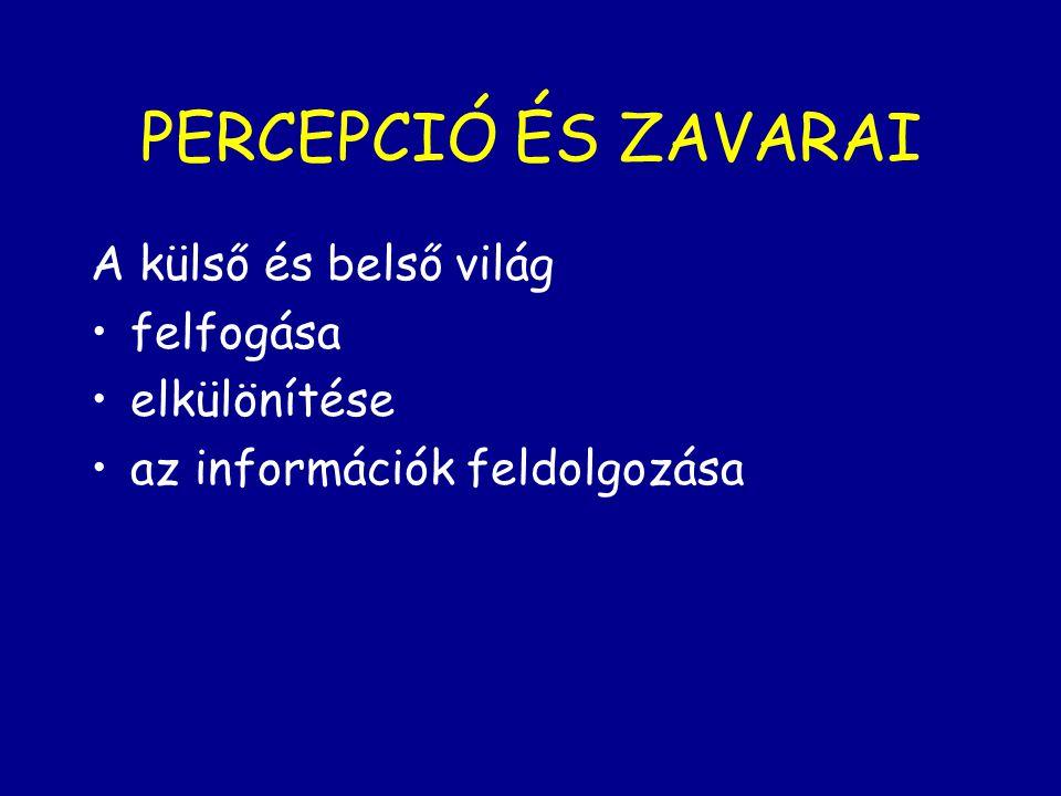 PERCEPCIÓ ÉS ZAVARAI A külső és belső világ felfogása elkülönítése az információk feldolgozása