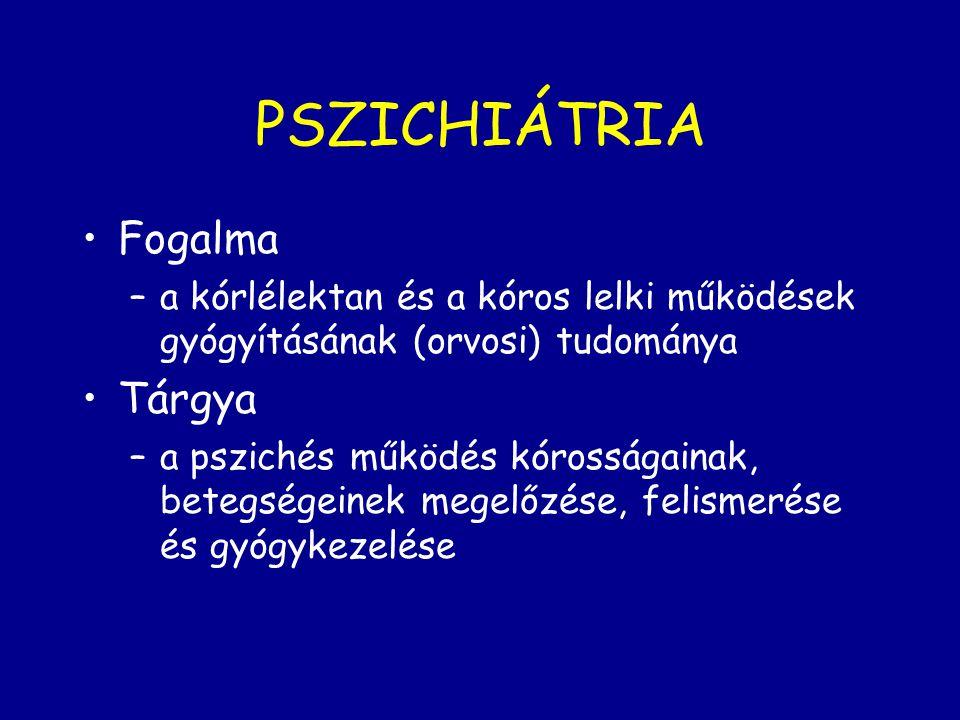 PSZICHIÁTRIA Fogalma –a kórlélektan és a kóros lelki működések gyógyításának (orvosi) tudománya Tárgya –a pszichés működés kórosságainak, betegségeine