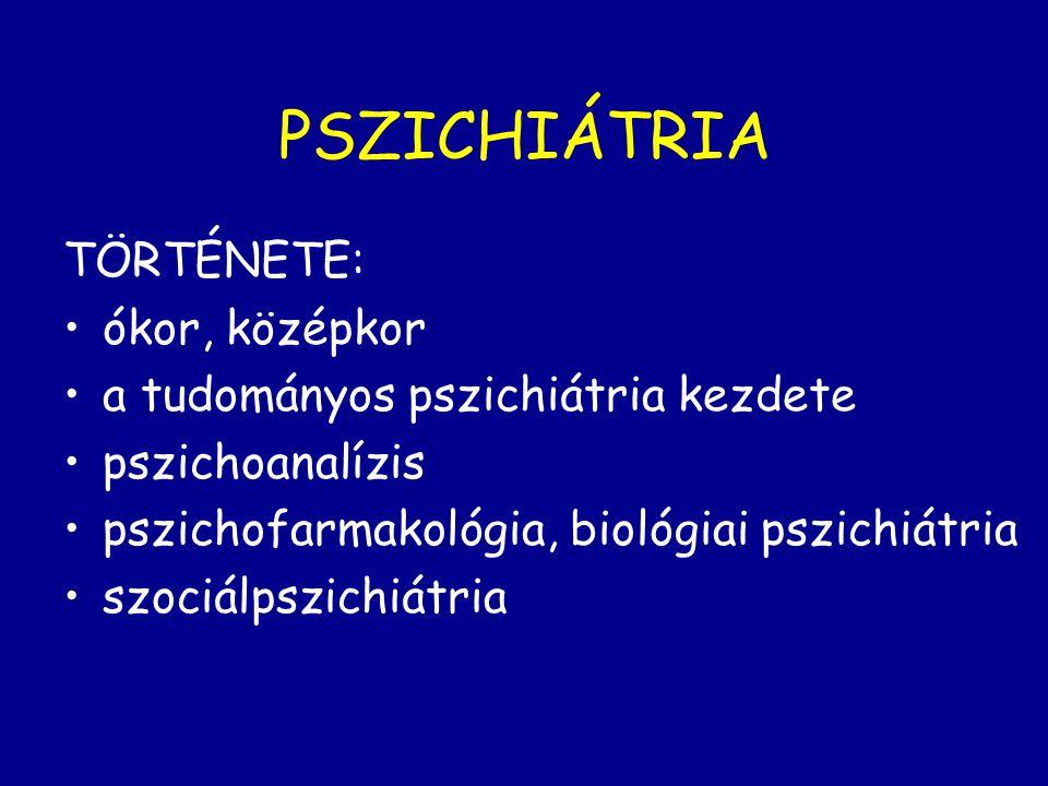 PSZICHIÁTRIA TÖRTÉNETE: ókor, középkor a tudományos pszichiátria kezdete pszichoanalízis pszichofarmakológia, biológiai pszichiátria szociálpszichiátr