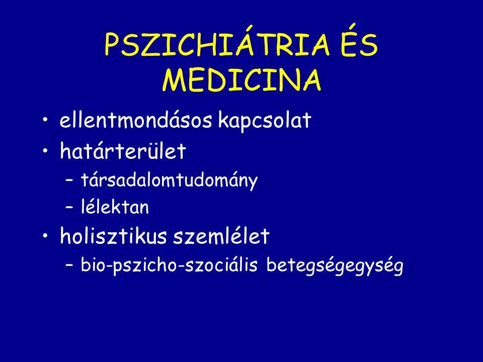 PSZICHIÁTRIA ÉS MEDICINA ellentmondásos kapcsolat határterület –társadalomtudomány –lélektan holisztikus szemlélet –bio-pszicho-szociális betegségegys