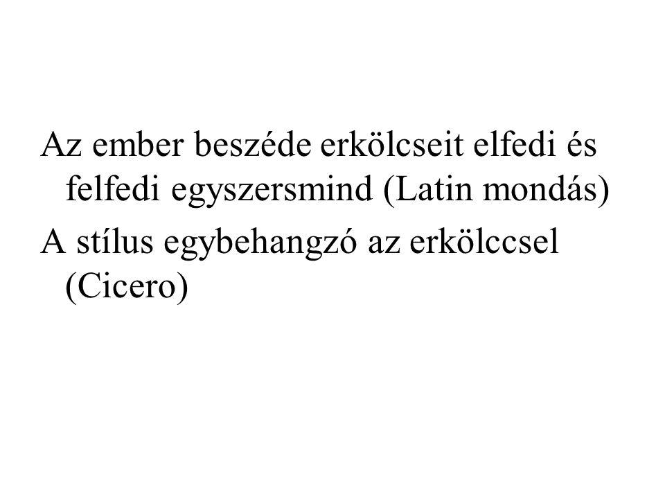 Az ember beszéde erkölcseit elfedi és felfedi egyszersmind (Latin mondás) A stílus egybehangzó az erkölccsel (Cicero)