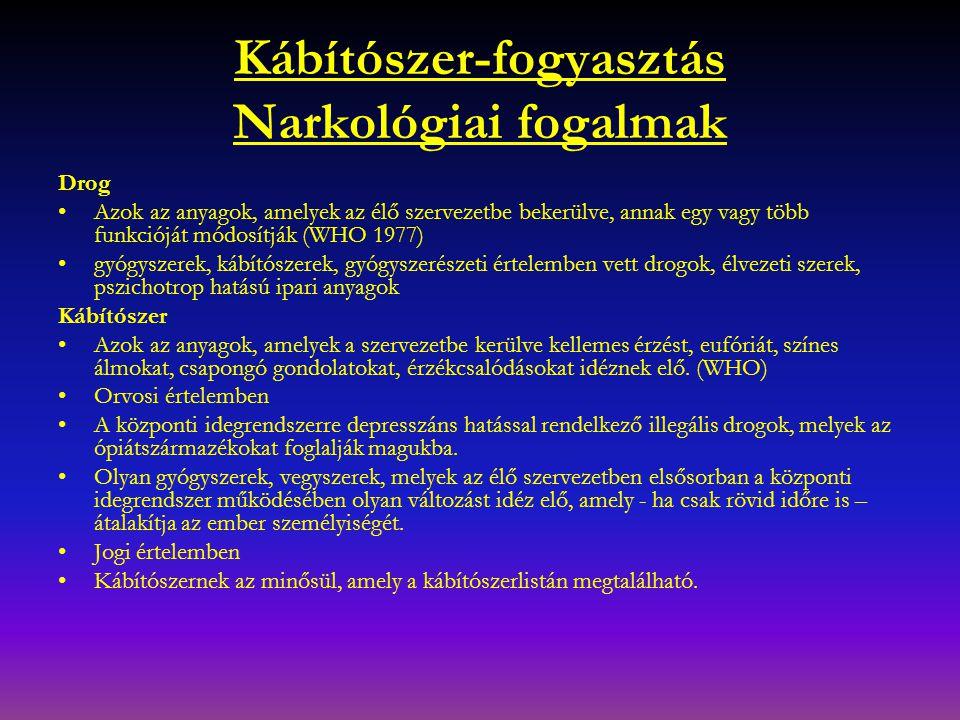 Kábítószer-fogyasztás Narkológiai fogalmak Drog Azok az anyagok, amelyek az élő szervezetbe bekerülve, annak egy vagy több funkcióját módosítják (WHO