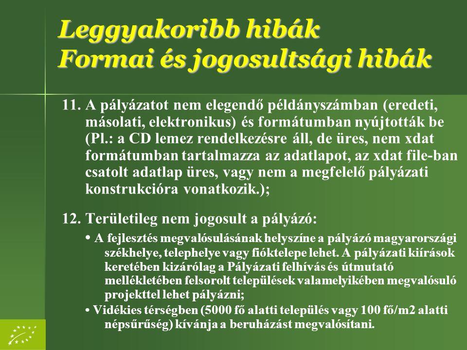 11. A pályázatot nem elegendő példányszámban (eredeti, másolati, elektronikus) és formátumban nyújtották be (Pl.: a CD lemez rendelkezésre áll, de üre