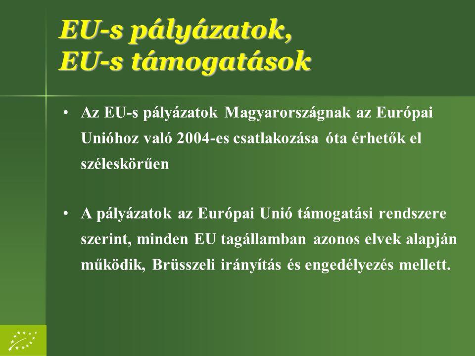 EU-s pályázatok, EU-s támogatások Az EU-s pályázatok Magyarországnak az Európai Unióhoz való 2004-es csatlakozása óta érhetők el széleskörűen A pályáz