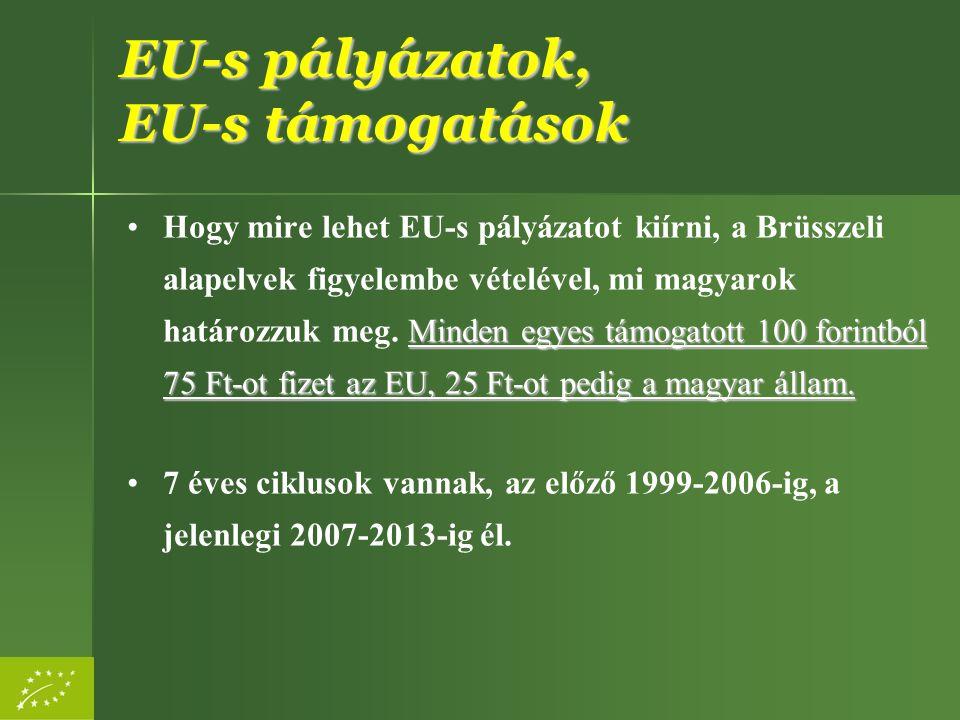 EU-s pályázatok, EU-s támogatások Fajtái a térítés módja szerint: –vissza nem térítendő támogatások (jellemzően), –visszatérítendő támogatás
