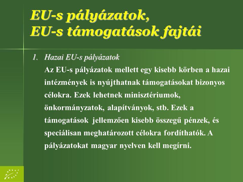 EU-s pályázatok, EU-s támogatások fajtái 1.Hazai EU-s pályázatok 1.Hazai EU-s pályázatok Az EU-s pályázatok mellett egy kisebb körben a hazai intézmén