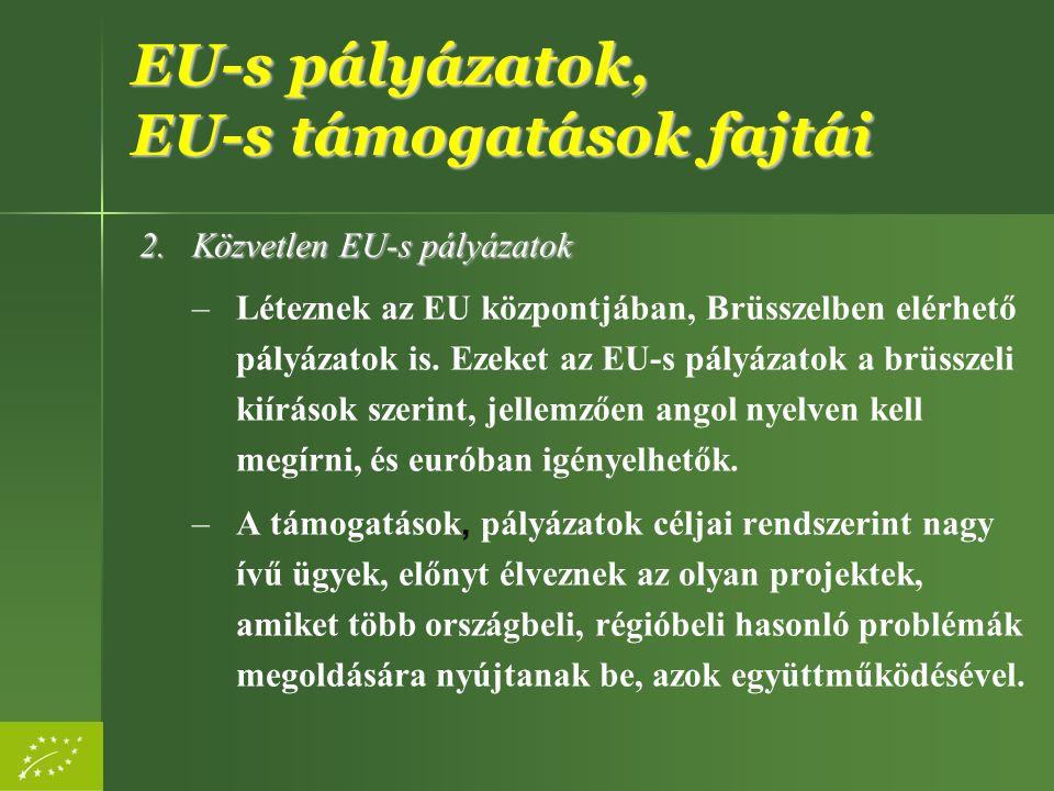 EU-s pályázatok, EU-s támogatások fajtái 2.Közvetlen EU-s pályázatok –Léteznek az EU központjában, Brüsszelben elérhető pályázatok is. Ezeket az EU-s