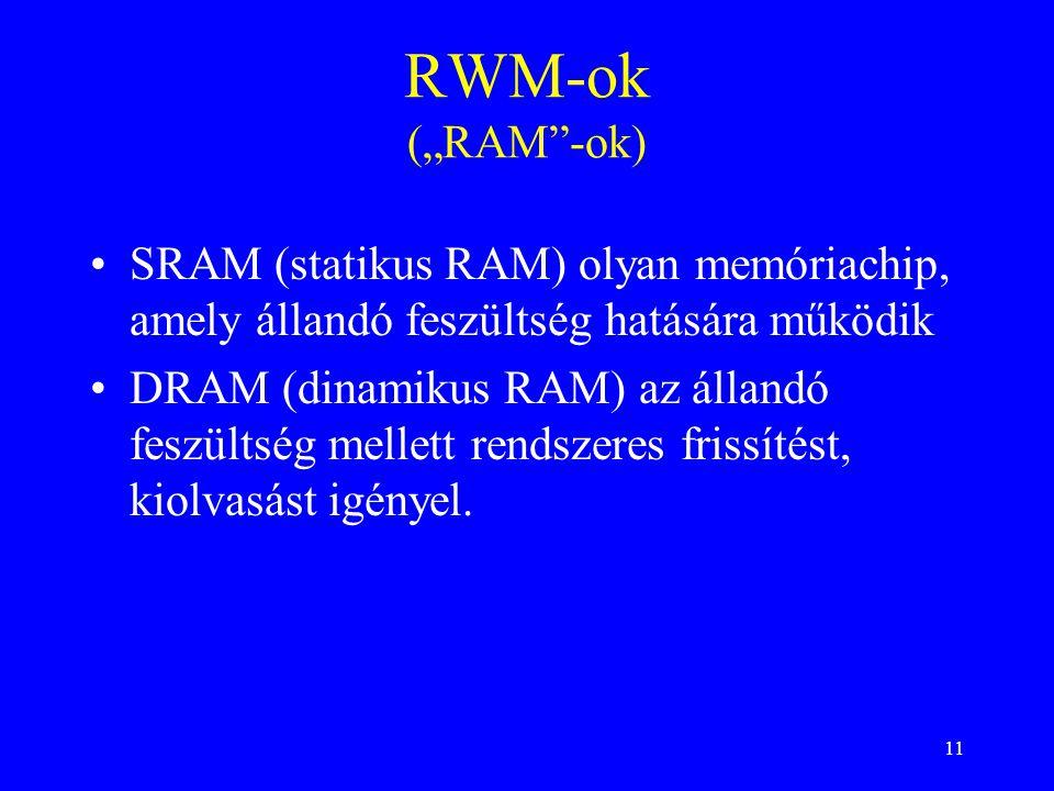 """11 RWM-ok (""""RAM""""-ok) SRAM (statikus RAM) olyan memóriachip, amely állandó feszültség hatására működik DRAM (dinamikus RAM) az állandó feszültség melle"""