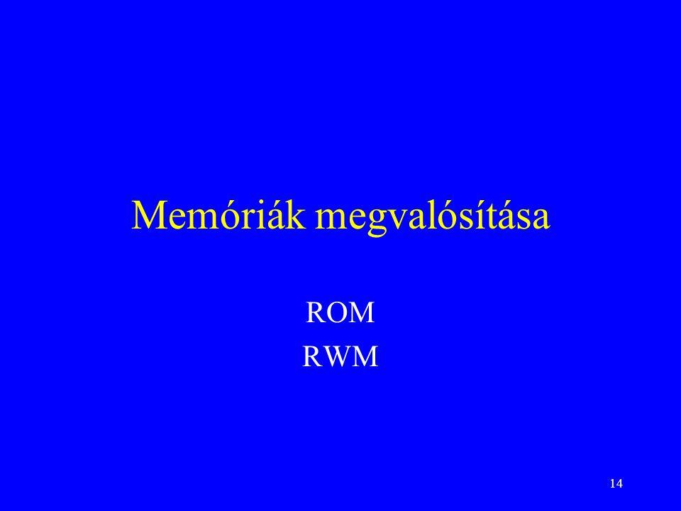 14 Memóriák megvalósítása ROM RWM