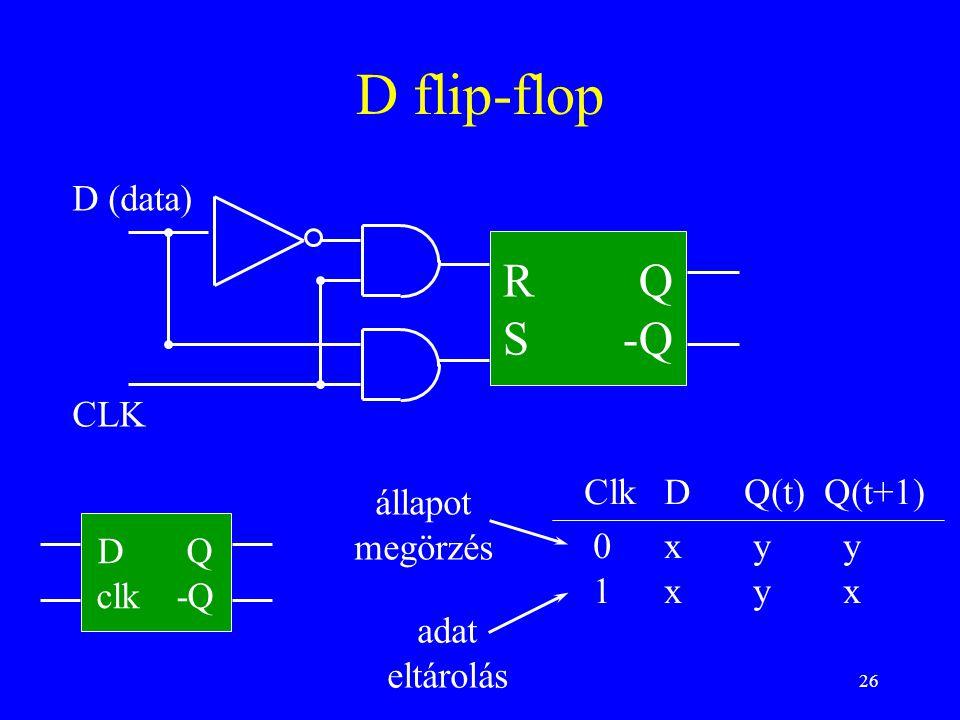 26 D flip-flop R Q S-Q CLK D (data) ClkDQ(t)Q(t+1) 0x y y 1x y x D Q clk-Q állapot megörzés adat eltárolás