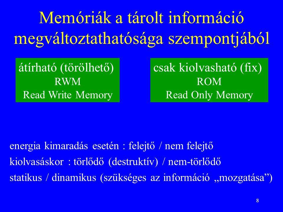 8 Memóriák a tárolt információ megváltoztathatósága szempontjából átírható (törölhető) RWM Read Write Memory csak kiolvasható (fix) ROM Read Only Memo