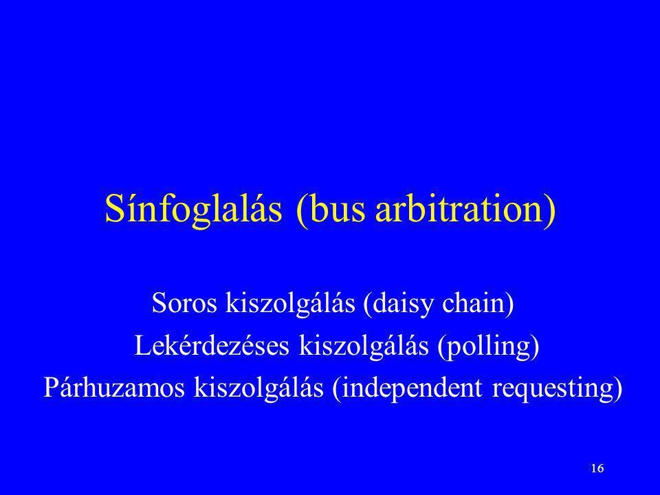 16 Sínfoglalás (bus arbitration) Soros kiszolgálás (daisy chain) Lekérdezéses kiszolgálás (polling) Párhuzamos kiszolgálás (independent requesting)