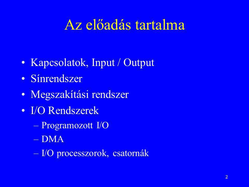 2 Az előadás tartalma Kapcsolatok, Input / Output Sínrendszer Megszakítási rendszer I/O Rendszerek –Programozott I/O –DMA –I/O processzorok, csatornák