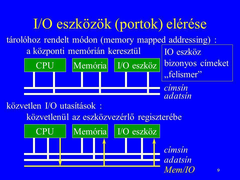 """9 I/O eszközök (portok) elérése MemóriaI/O eszközCPU címsín adatsín MemóriaI/O eszközCPU címsín adatsín Mem/IO IO eszköz bizonyos címeket """"felismer"""" k"""