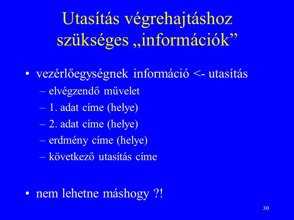 """30 Utasítás végrehajtáshoz szükséges """"információk"""" vezérlőegységnek információ <- utasítás –elvégzendő művelet –1. adat címe (helye) –2. adat címe (he"""