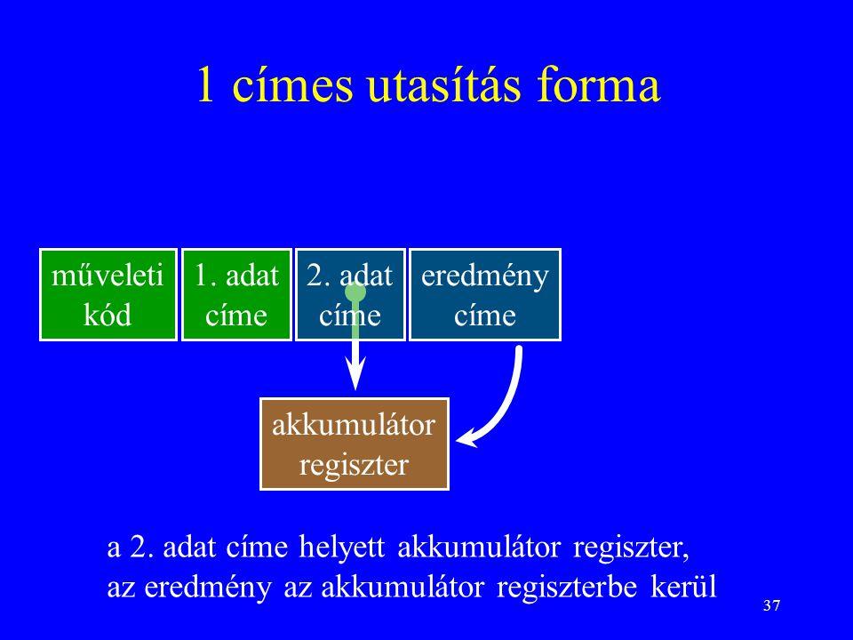 37 1 címes utasítás forma műveleti kód 1. adat címe 2. adat címe eredmény címe akkumulátor regiszter a 2. adat címe helyett akkumulátor regiszter, az