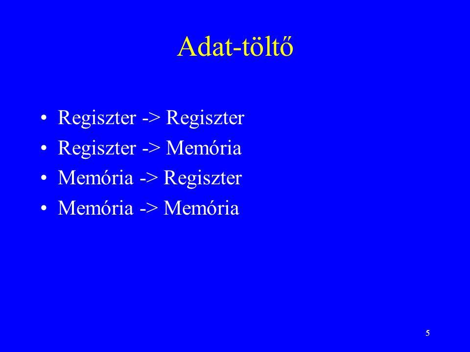 46 Rövidített címmegadás Mihez képest számítjuk a címet : lapcímes :az adott lap kezdetétől bázisregiszteres : bázisregiszter értékétől (általában a bázisregiszter tartalma rögzített) mutatós (pointeres) : a meghatározott regiszter értékétől (a regiszter tartalma a program végrehajtása során változik, pld.