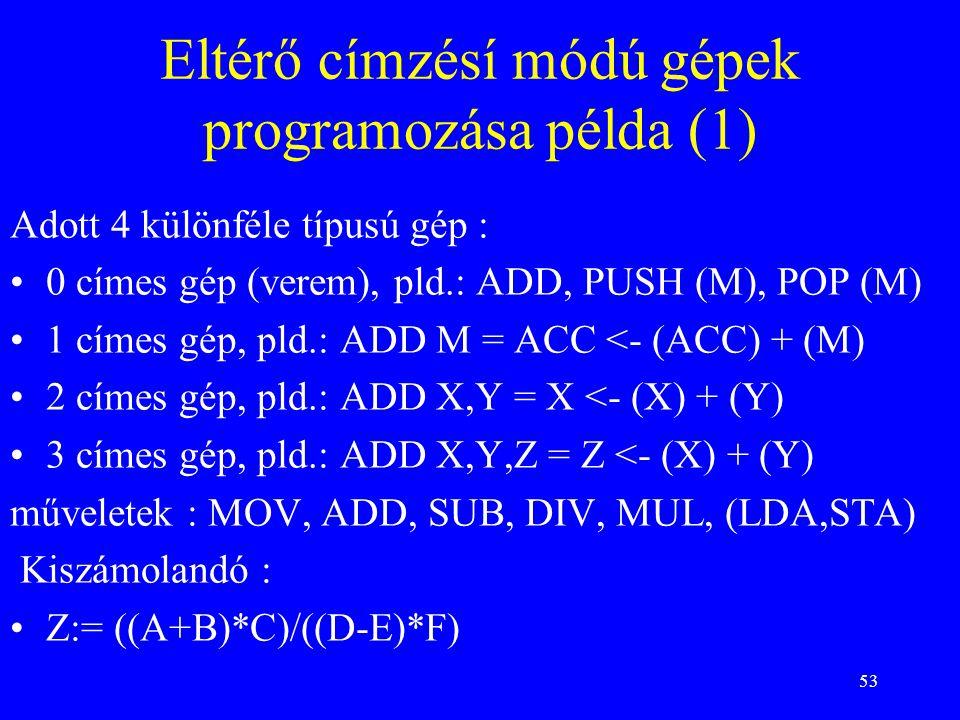 53 Eltérő címzésí módú gépek programozása példa (1) Adott 4 különféle típusú gép : 0 címes gép (verem), pld.: ADD, PUSH (M), POP (M) 1 címes gép, pld.