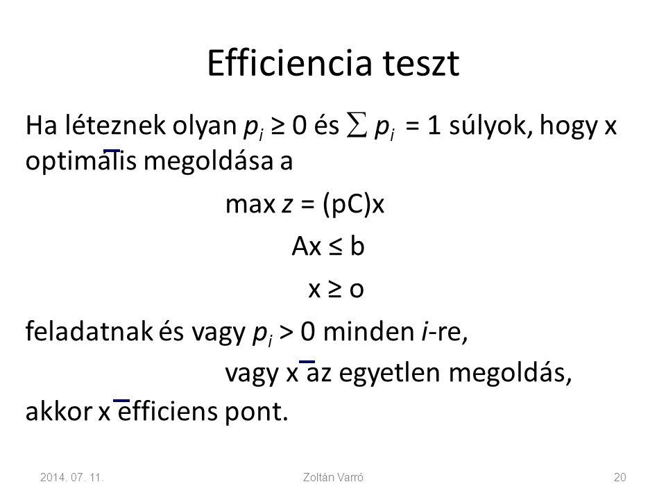 Efficiencia teszt Ha léteznek olyan p i ≥ 0 és  p i = 1 súlyok, hogy x optimális megoldása a max z = (pC)x Ax ≤ b x ≥ o feladatnak és vagy p i > 0 mi