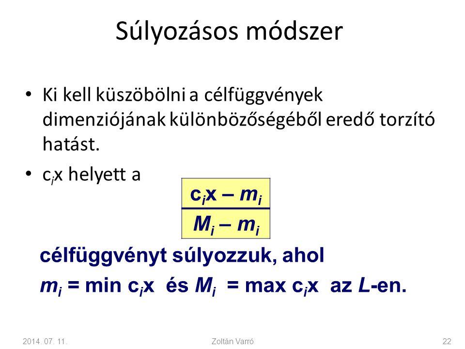 Súlyozásos módszer Ki kell küszöbölni a célfüggvények dimenziójának különbözőségéből eredő torzító hatást. c i x helyett a c i x – m i M i – m i 2014.