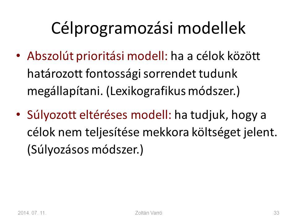 Célprogramozási modellek Abszolút prioritási modell: ha a célok között határozott fontossági sorrendet tudunk megállapítani. (Lexikografikus módszer.)