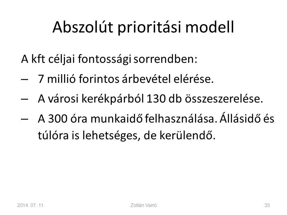 Abszolút prioritási modell A kft céljai fontossági sorrendben: – 7 millió forintos árbevétel elérése. – A városi kerékpárból 130 db összeszerelése. –