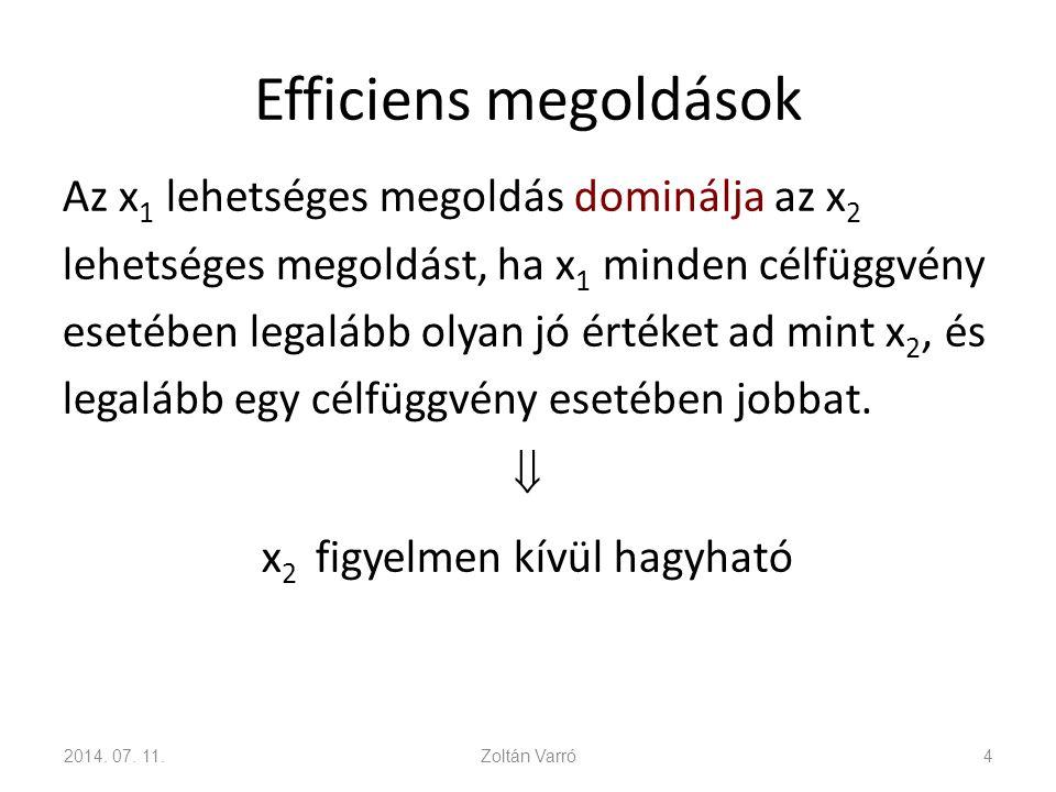Efficiens megoldások Az x 1 lehetséges megoldás dominálja az x 2 lehetséges megoldást, ha x 1 minden célfüggvény esetében legalább olyan jó értéket ad