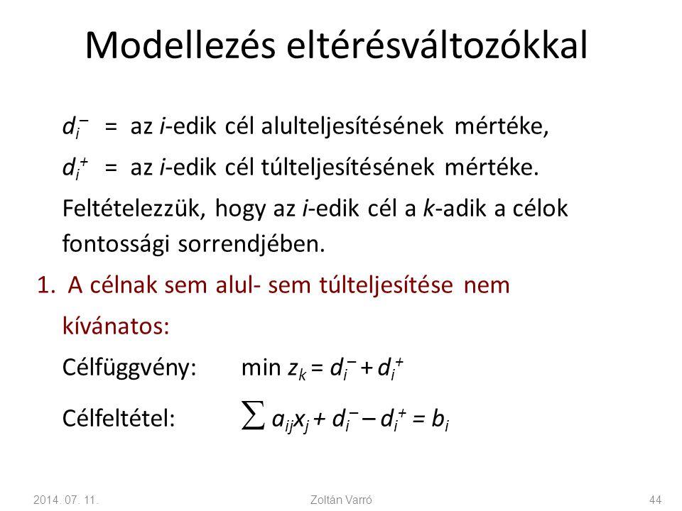 Modellezés eltérésváltozókkal d i – = az i-edik cél alulteljesítésének mértéke, d i + = az i-edik cél túlteljesítésének mértéke. Feltételezzük, hogy a
