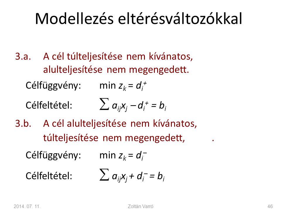 Modellezés eltérésváltozókkal 3.a.A cél túlteljesítése nem kívánatos, alulteljesítése nem megengedett. Célfüggvény:min z k = d i + Célfeltétel:  a ij