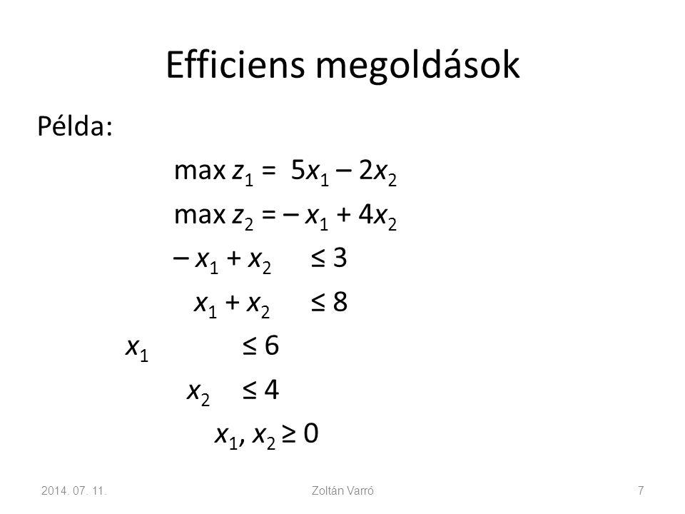 Efficiens megoldások Példa: max z 1 = 5x 1 – 2x 2 max z 2 = – x 1 + 4x 2 – x 1 + x 2 ≤ 3 x 1 + x 2 ≤ 8 x 1 ≤ 6 x 2 ≤ 4 x 1, x 2 ≥ 0 2014. 07. 11.Zoltá