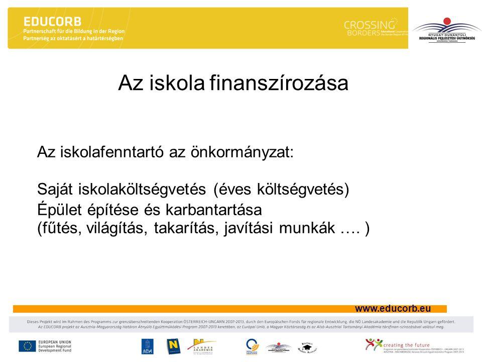 www.educorb.eu Az iskola finanszírozása Az iskolafenntartó az önkormányzat: Saját iskolaköltségvetés (éves költségvetés) Épület építése és karbantart
