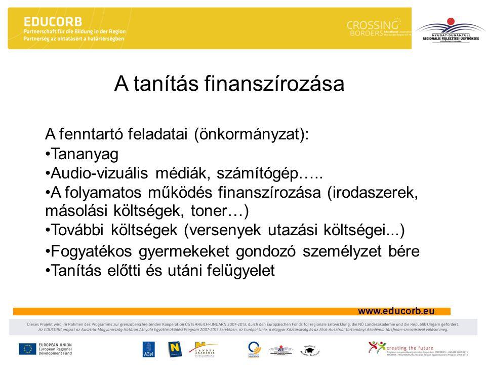 www.educorb.eu A tanítás finanszírozása A fenntartó feladatai (önkormányzat): Tananyag Audio-vizuális médiák, számítógép….. A folyamatos működés finan