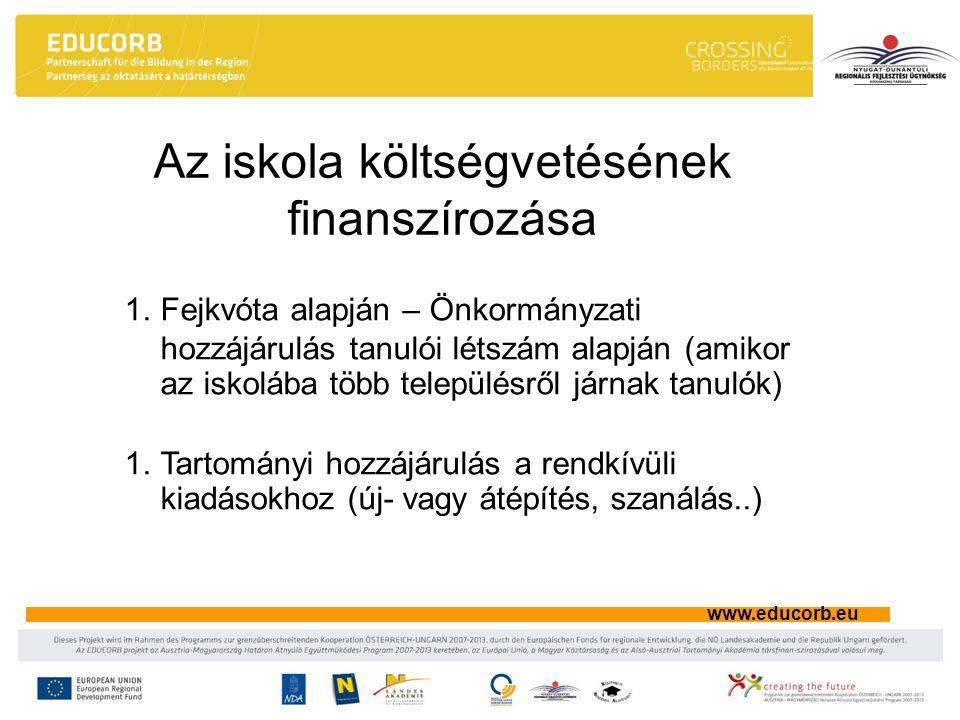 www.educorb.eu Az iskola költségvetésének finanszírozása 1.Fejkvóta alapján – Önkormányzati hozzájárulás tanulói létszám alapján (amikor az iskolába több településről járnak tanulók) 1.Tartományi hozzájárulás a rendkívüli kiadásokhoz (új- vagy átépítés, szanálás..)